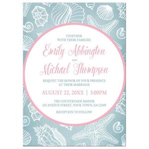 Wedding Invitations - Blue Seashell Pink Beach