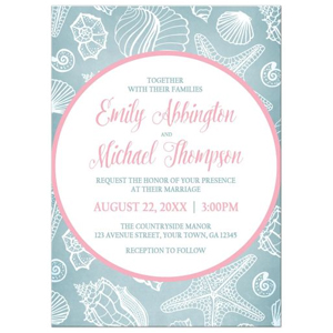 Wedding Invitations - Blue Seashell Pink Beach