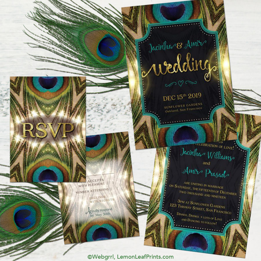 dramatic geometric light flare peacock wedding invitation set