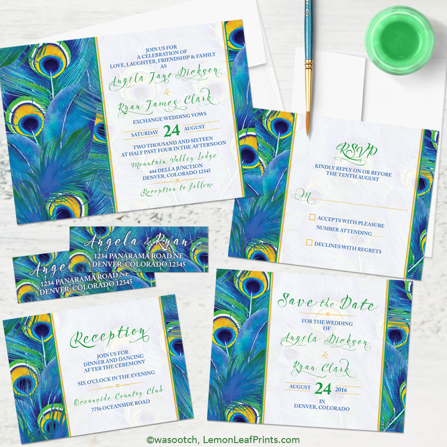 Cheerful watercolor peacock feather wedding invitation set