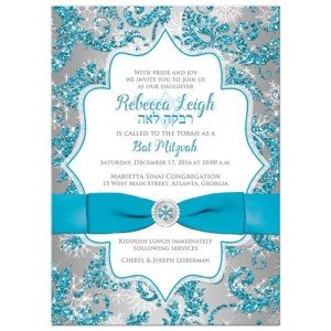 Turquoise Snowflake Floral Ribbon Winter Wonderland Bat Mitzvah Invitation