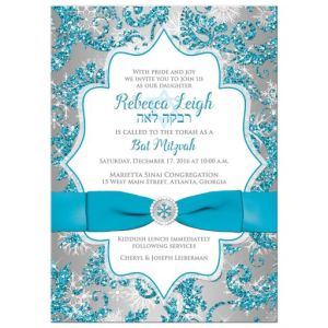 Turquoise Snowflake Floral Ribbon Winter Wonderland Bat Mitzvah Invitation
