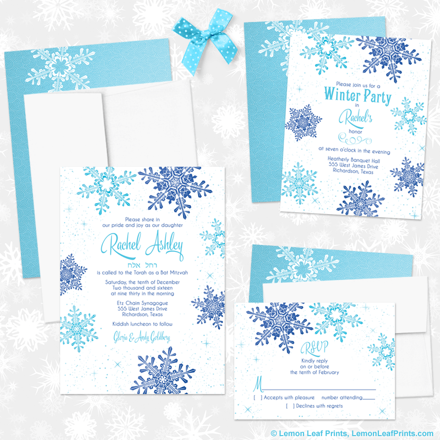 Aqua and Royal Blue Snowflake Frozen or Winter Wonderland Bat Mitzvah Invitations Set