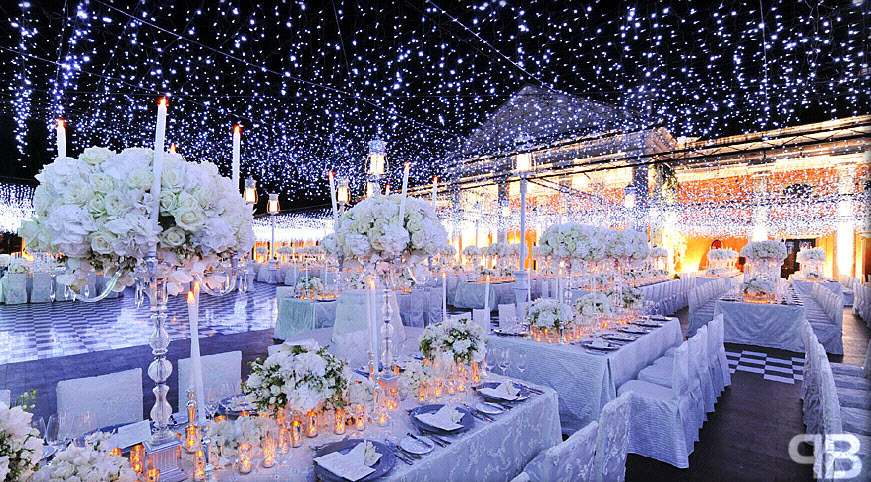 Beautiful winter wonderland event decor