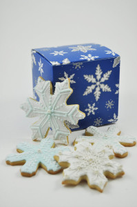 Decorated snowflake cookies from Etsy