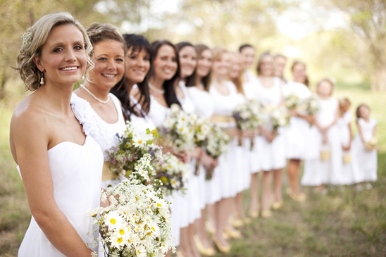 daisy themed wedding bridal party