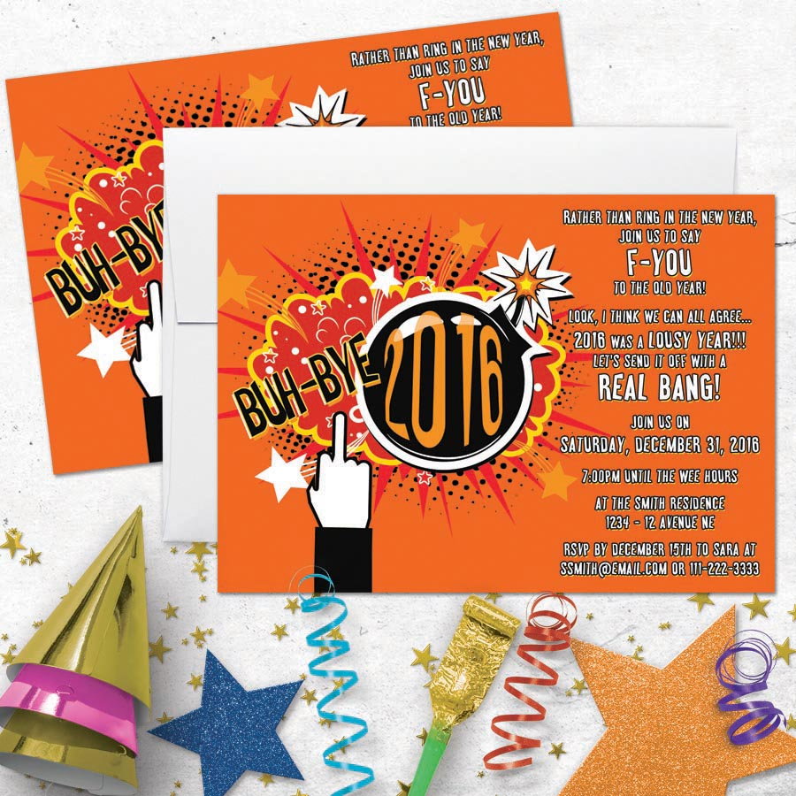 Funny Novelty 2017 New Year's Party Invitation - Blow up 2016!