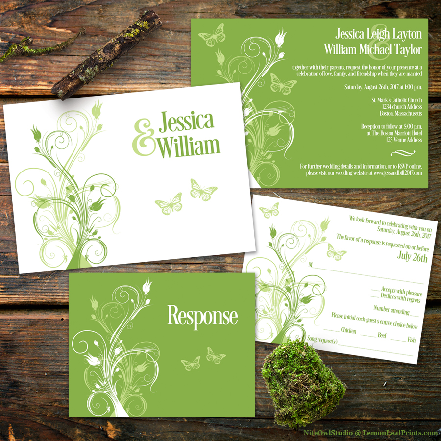 Greenery White Floral Wedding Invitation Set