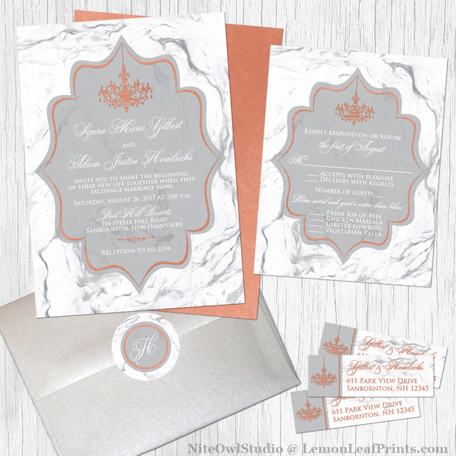 Marble Copper Chandelier Wedding Invitation Set