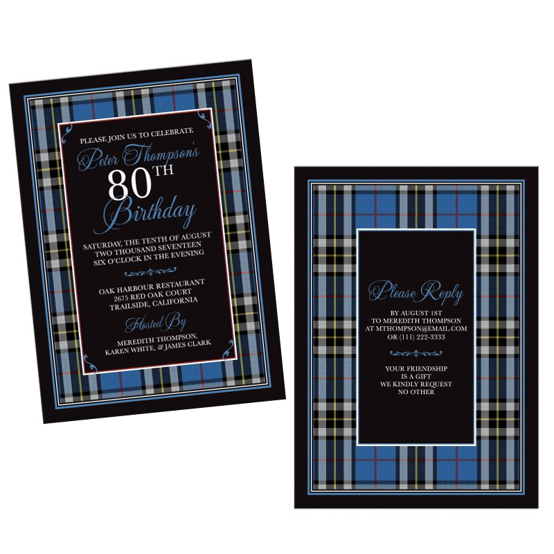 Scottish Clan Thompson Tartan Birthday Invitation