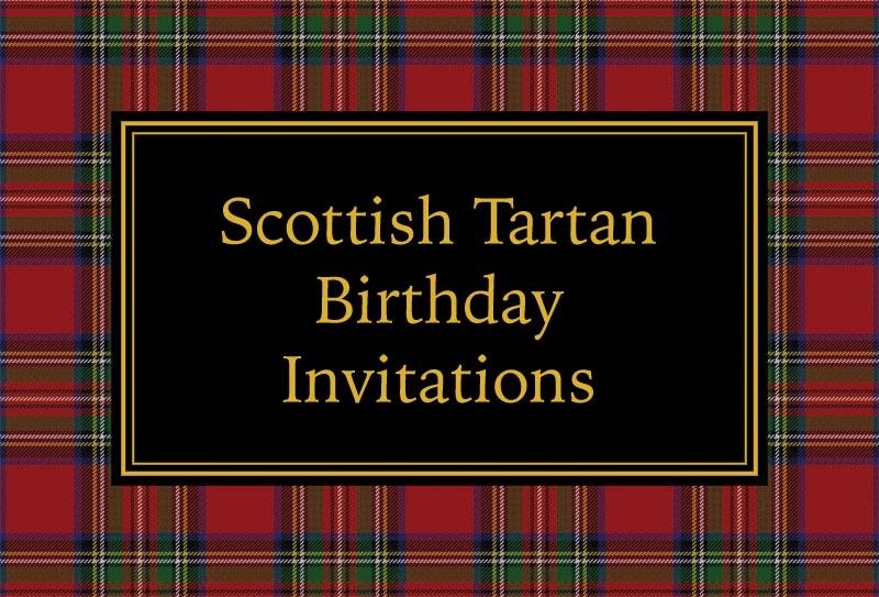 Scottish tartan birthday invitations