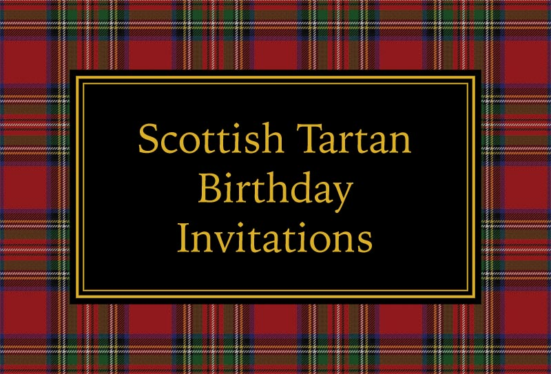 Scottish tartan birthday invitations