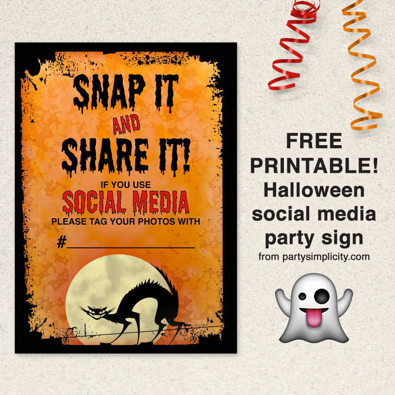 Free printable Halloween party social media hashtag sign