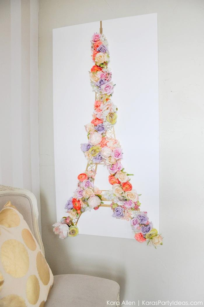 DIY Eiffel tower floral wall poster from karaspartyideas