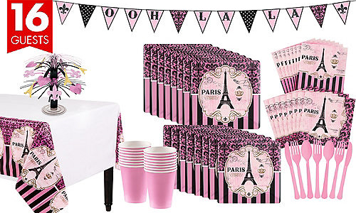 Paris themed party tableware kit for 16 people