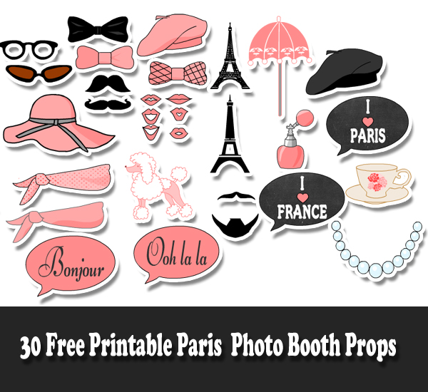 free printable Paris Photo booth props