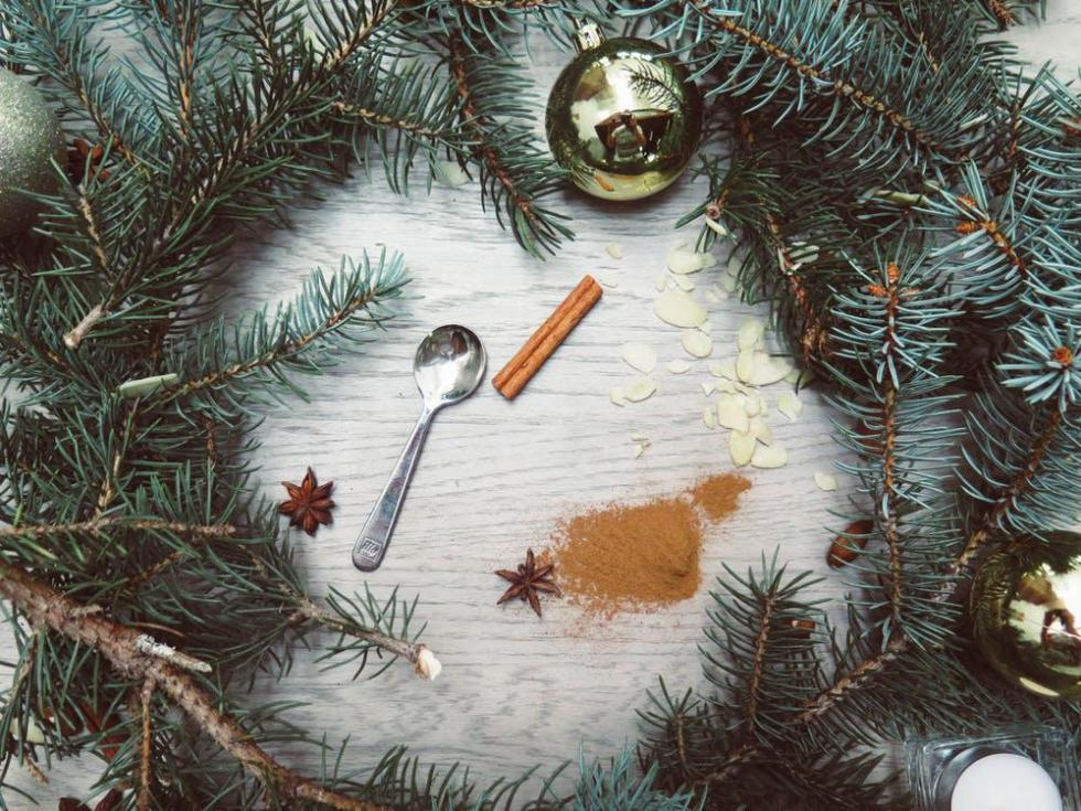 Evergreen wreath and spices