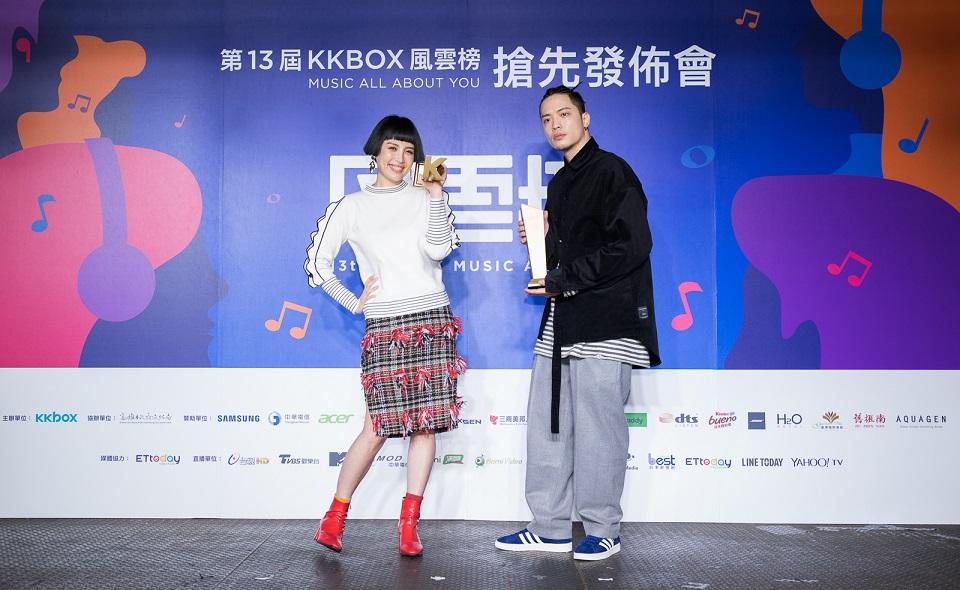 【第13屆KKBOX風雲榜】魏如萱、J.Sheon分別勇奪年度創作精神獎與年度最佳新人獎