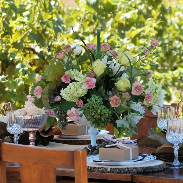 Rose Gold & Rustic  Tablescape