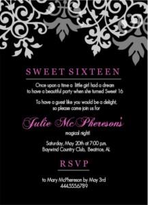 16th birthday invitation wording ideas