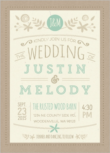 Nature Mint Kraft Wedding Invitation By Weddingpaperie Com