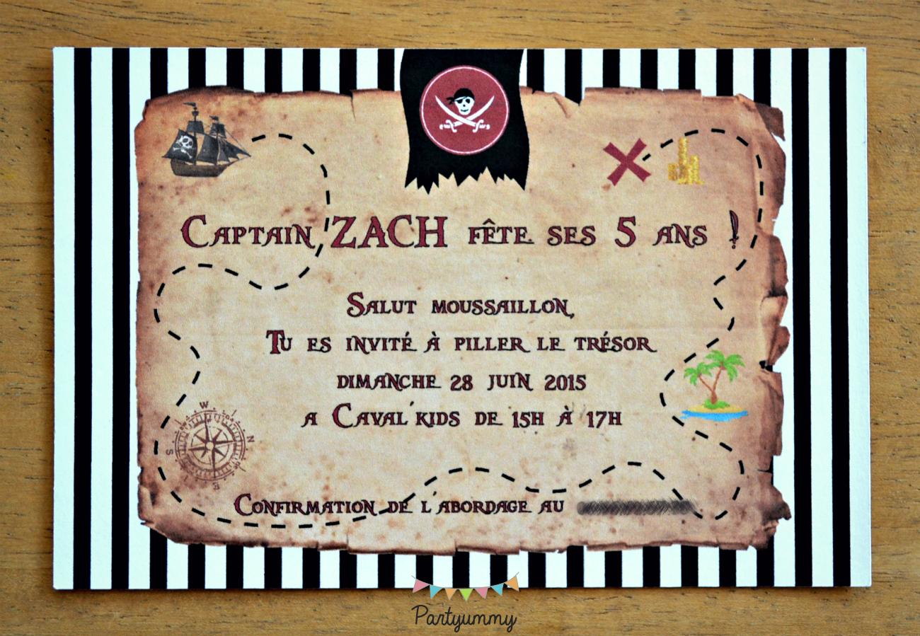 invitation pirate carte au tresor