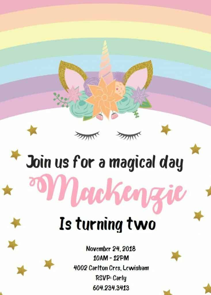 unicorn birthday invitations free