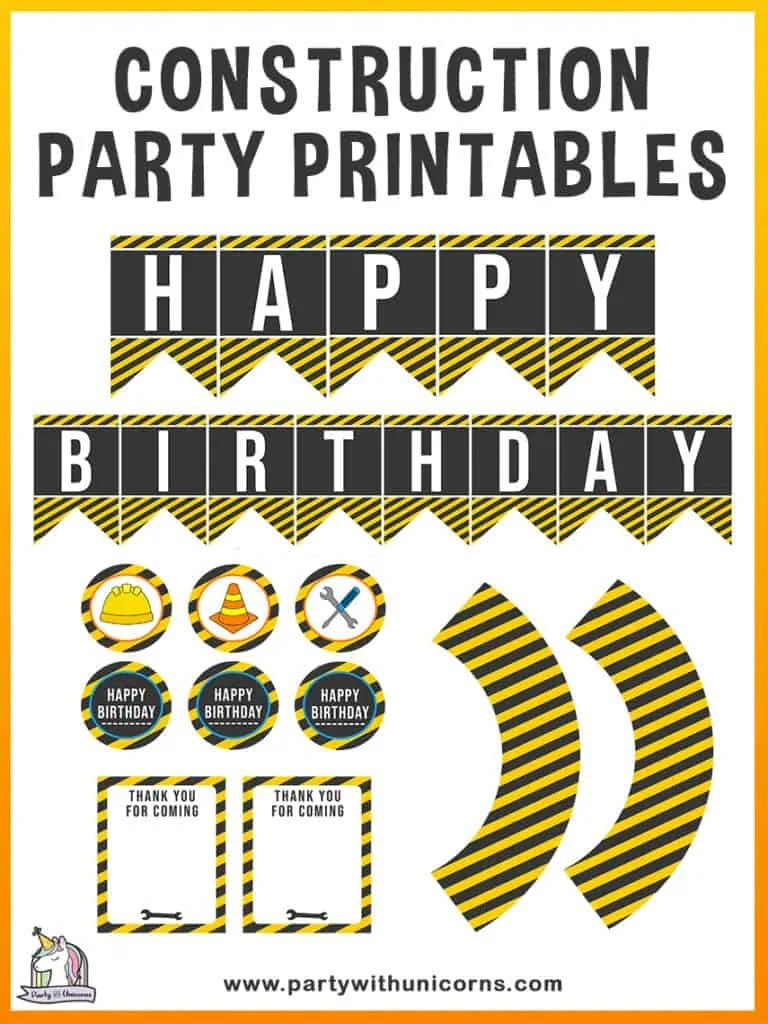 free construction party printables
