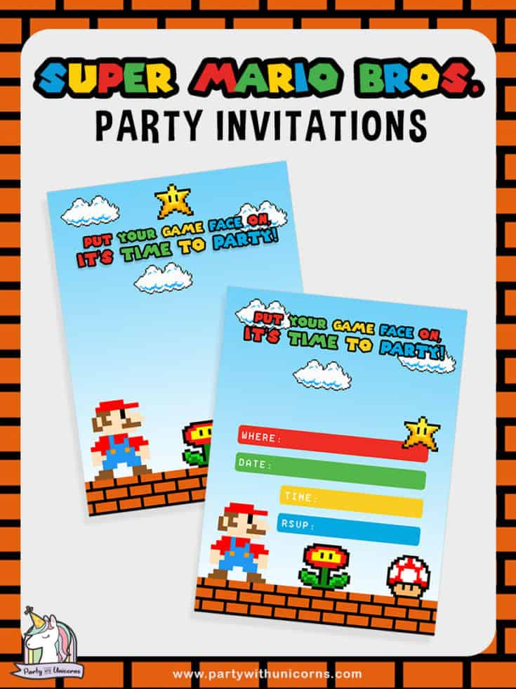free super mario party printables