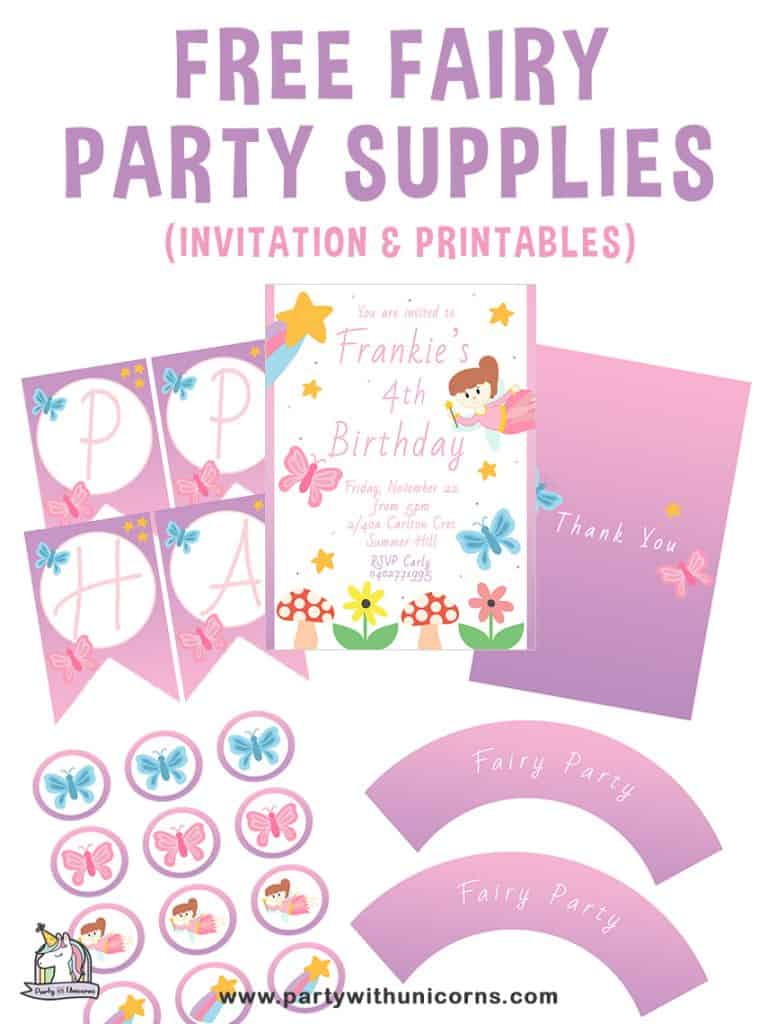 free fairy party supplies invitations