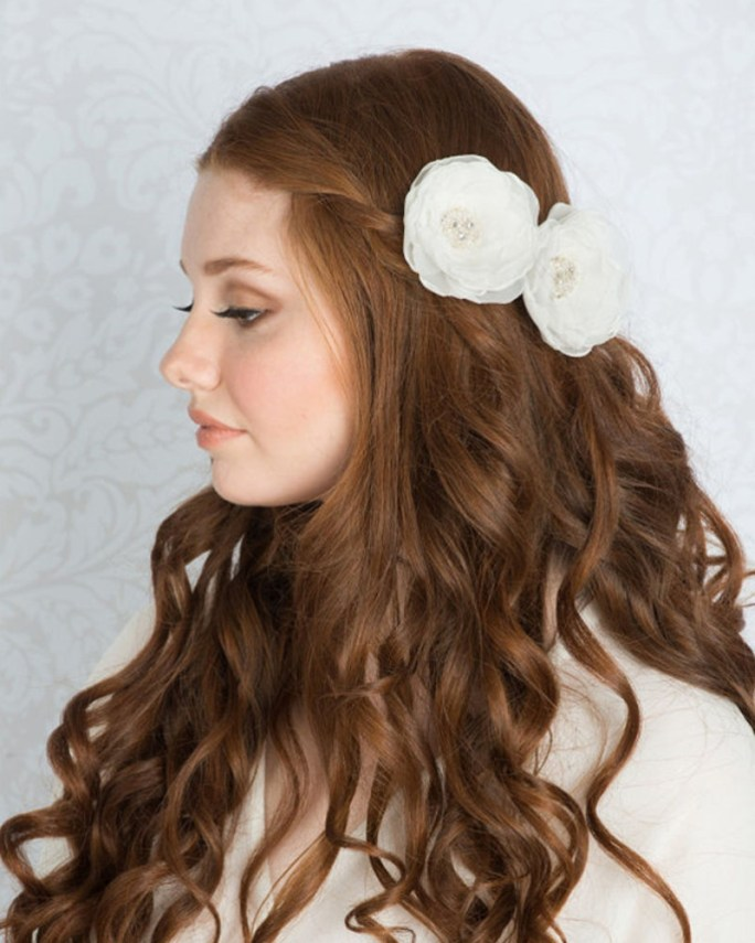 Hepburn_Bridal Hair Accessory_Organza Silk Flower Hair Clip