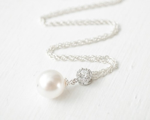 Kate_Classic Silver Bridal Necklace with Pearl and crystal