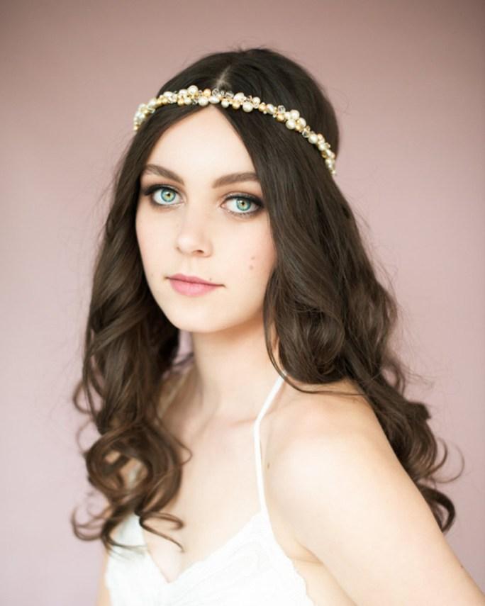 Natasha_Bridal Hair Accessory_Gold Halo Headband Crown with Pearls Crystals
