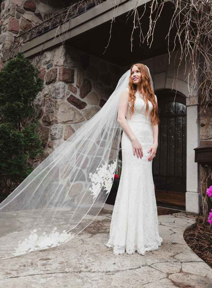 Alice_Two Tier Cathedral Couture Bridal Veil with Lace Soutache Edge