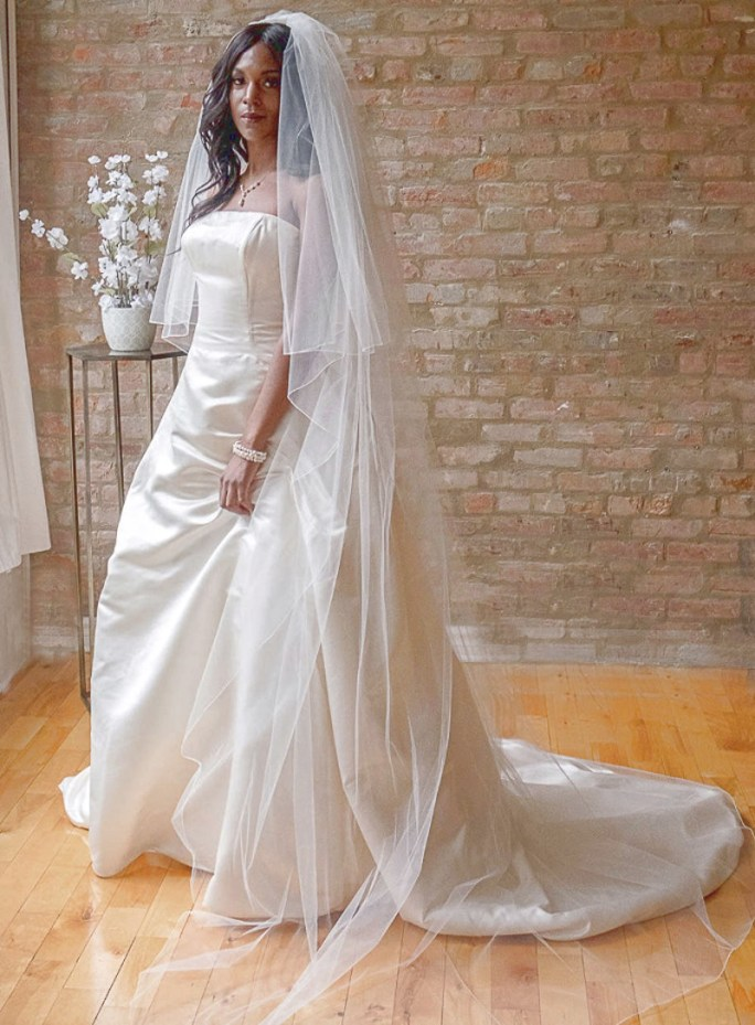 Emma_Two Tier Cathedral Bridal Veil with Ivory Pencil Edge