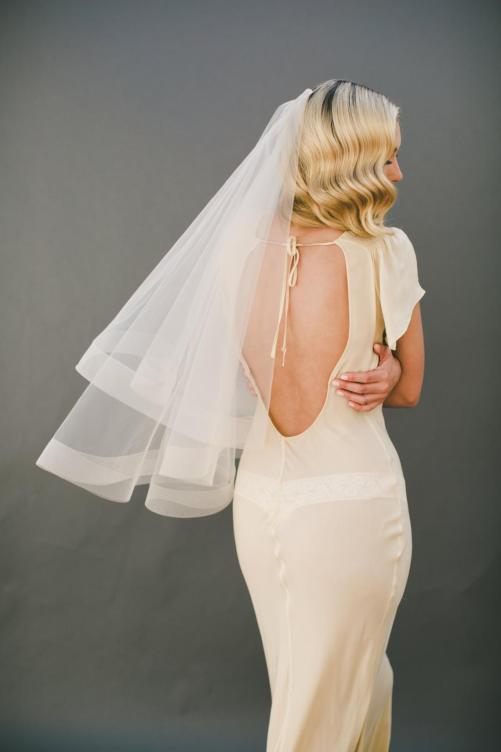 Ava_Two Tier Couture Hip Length Bridal Veil with Horse Hair Edge