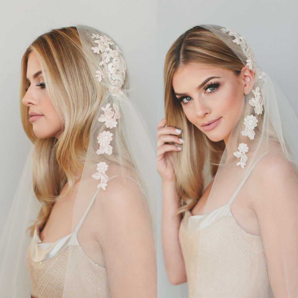 Eloise Veil_One Tier Ankle Length Bridal Veil with Cut Edge and Champagne Alençon Lace Appliqués