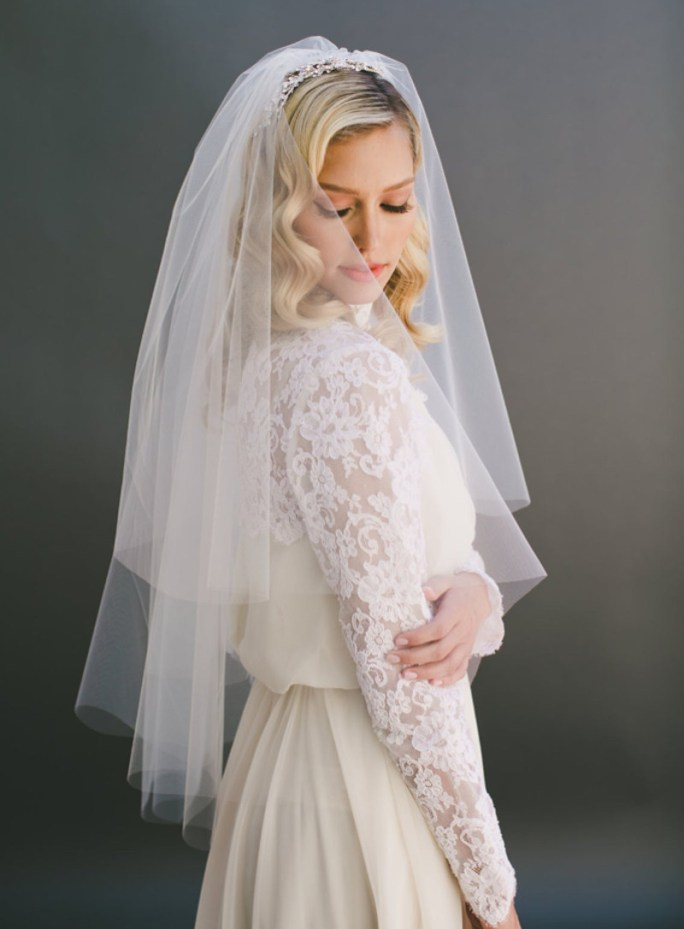 Jasmine Veil_Two Tier Mid hip Length Bridal Veil with Cut Edge