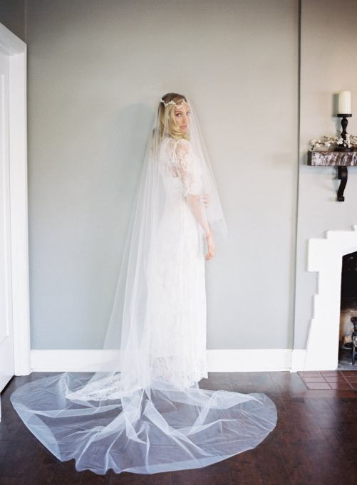 Mia_Two Tier Cathedral Bridal Veil with Cut Edge
