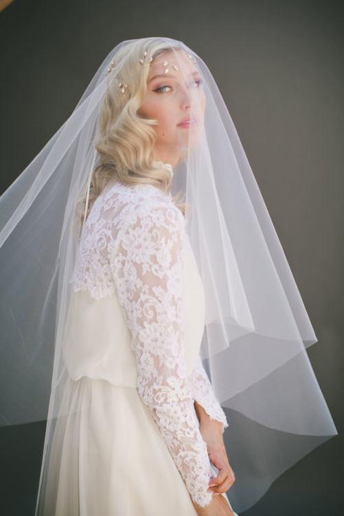 Olivia_Two Tier Waltz Length Bridal Veil with Cut Edge