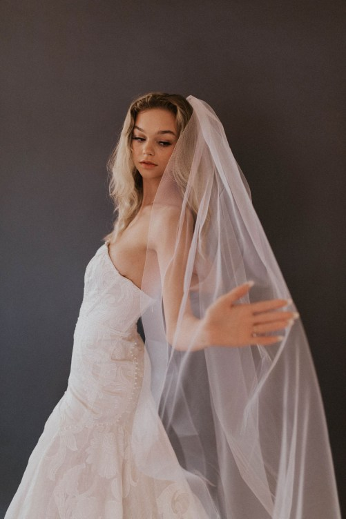 Smith Veil_One Tier Long Cathedral Bridal Veil with Horsehair Edge
