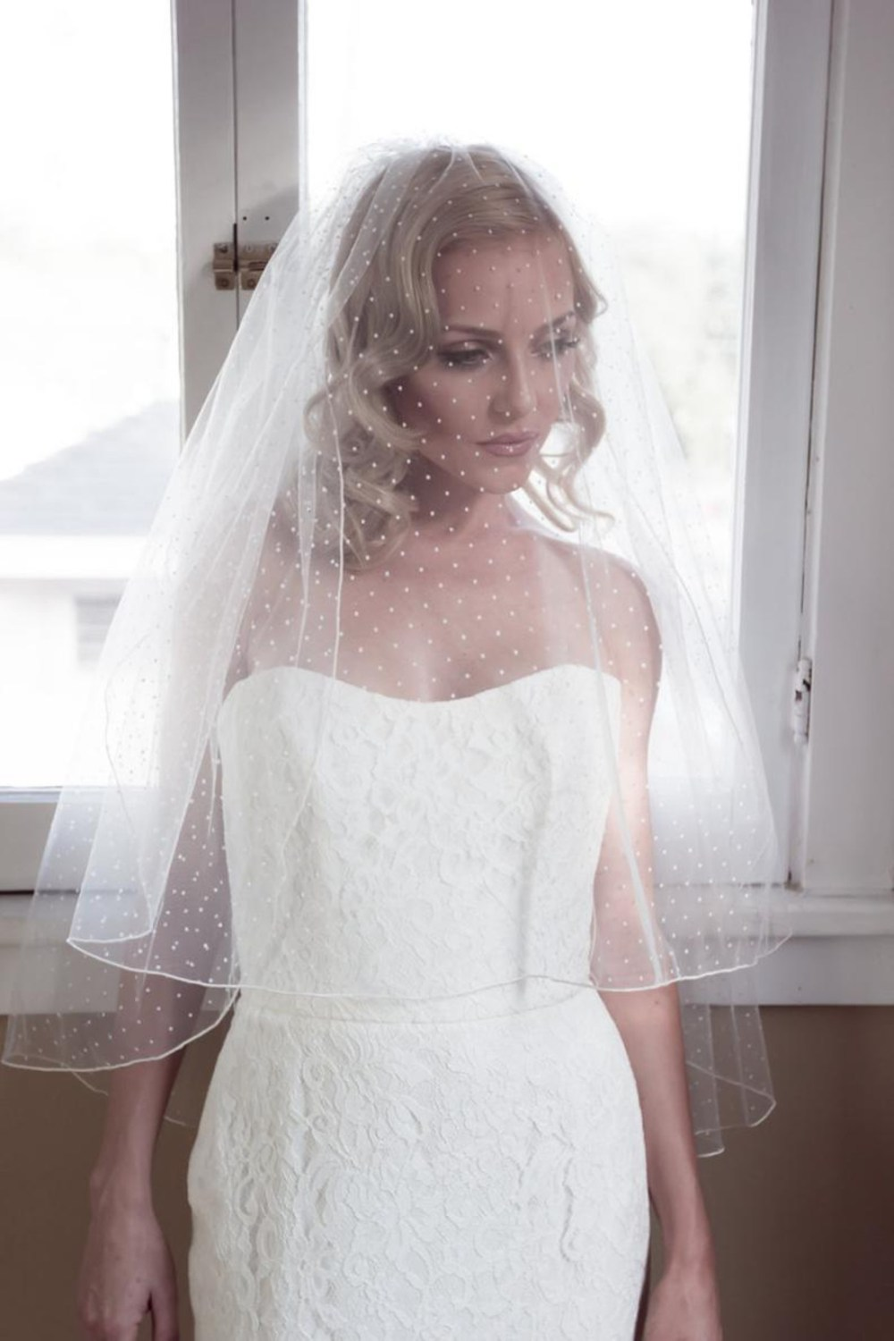 Brooke_Two Tier Fingertip Wedding Veil with Polka Dots