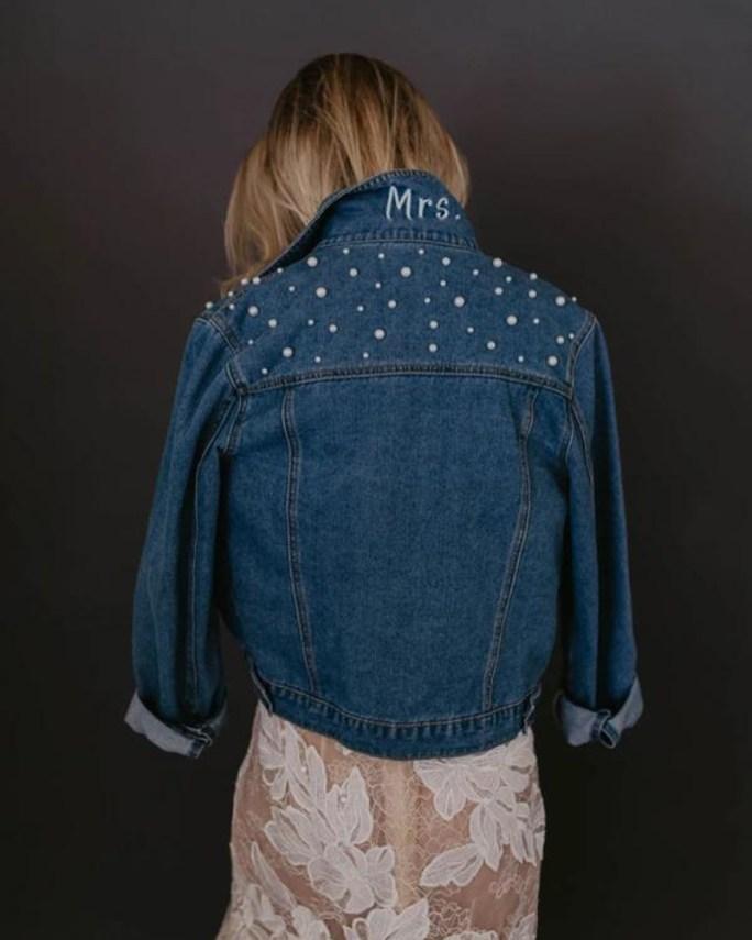 Mrs. Jacket_Stylish Bridal Bolero Blue jean jacket with pearls