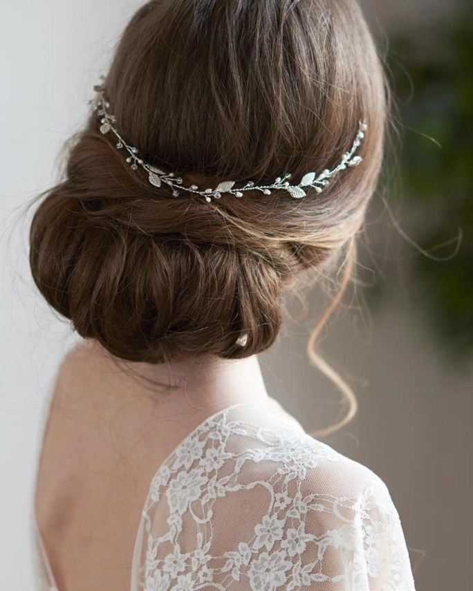 Elianna_Bridal Halo Headband hair vine with pearls and crystals