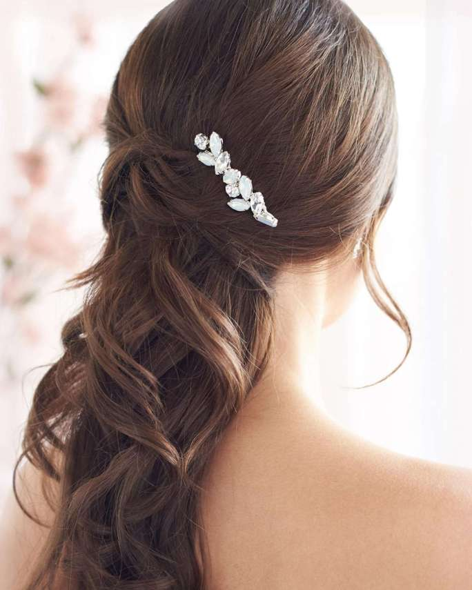 Nora Petite_Bridal wedding Comb silver, gold with crystals and opals