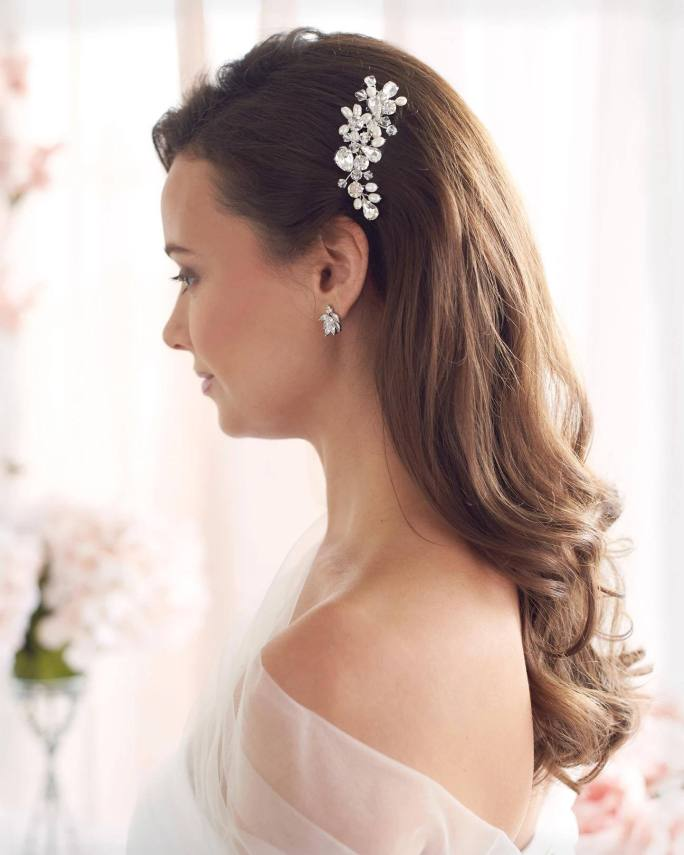 Priscilla_Bridal wedding Comb with crystals and freshwater pearls