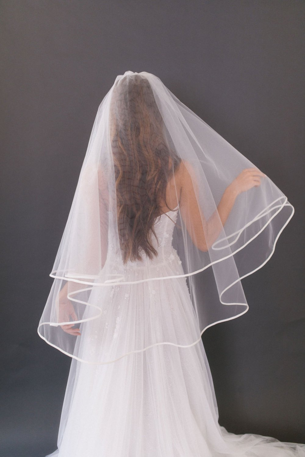 Erica_Two Tier Fingertip Bridal Veil with Satin Silk Edge