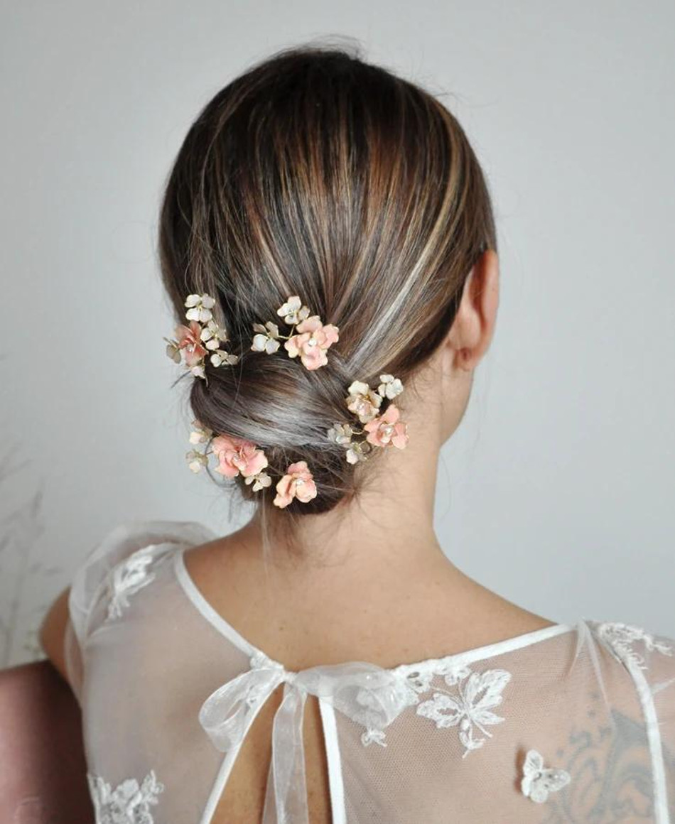 Adele_Blush pink bridal bouquet hairpins - set of 4 - Made with hand painted flower and crystals