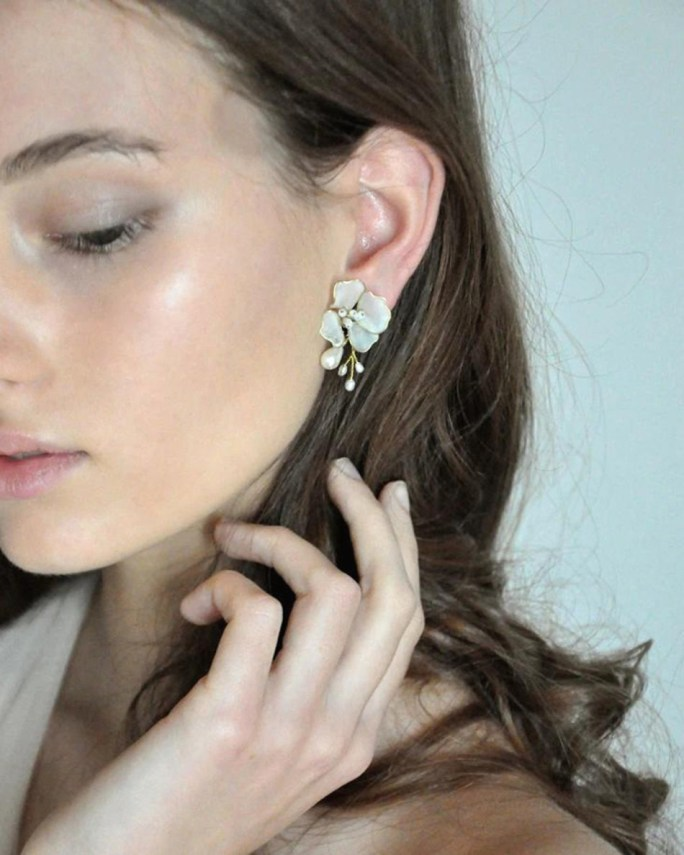 Cecilia_bridal earrings with hand painted white flower and freshwater pearls
