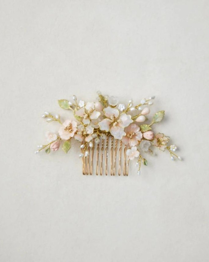 Iris_Bridal pink floral hair comb - Handmade and hand painted flowers and leaves, brass elements, freshwater pearls, beads